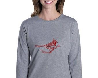 Cardinal Shirts For Women, Long Sleeved Cotton Crewneck Missy Fit Graphic Tshirt, Ladies Bird Tshirt, Hand Printed,  RED Winter Bird Tshirt