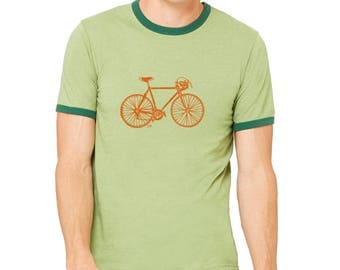 Vintage 10 Speed Bike Shirt, Unisex Ringer Tee, Graphic Tee Shirt, Speed Bicycle Short Sleeve Shirts For Men Hand Screenprinted Cyclist Gift