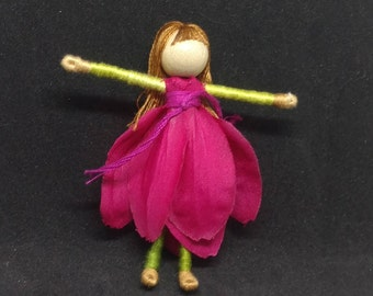 Hot pink Flower Fairy Doll -  bendy dolls, worry dolls, faerie