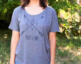 Arrows - Relax fit tshirt - Love - Soft lightweight - travel tees - Portland, OR hometown