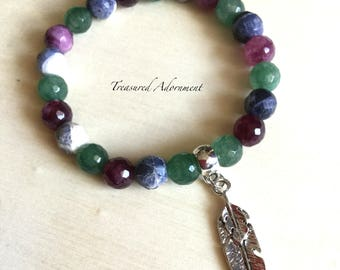 Ready To Ship, Mens Bracelet, mixed Gemstone Bracelet, Black purple Green Agate, Stretch Bracelet, Holiday gift, Feather Charm Bracelet