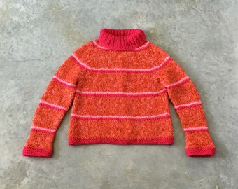 orange and hot pink 60s boucle sweater - 1211434