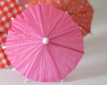 10 pcs Summer party fuchsia drink favour, Red pink cocktail umbrella, Cup Cake Toppers for wedding party