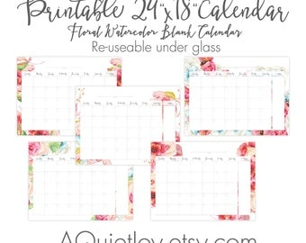 "24"" x 18"" Set of 5 Blank Watercolor Floral Calendar with notes section. Printable Wall Size Poster Calendar. Re-useable under glass"