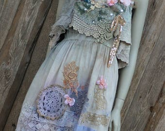 Moonglow and primrose dress size M- whimsy bohemian dress, antique laces, hand dyed, reworked