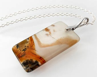 Vintage Stone Pendant | Montana Moss Agate Rectangle, Black, Burnt Orange, Translucent White Gemstone Pendant | 925 Sterling - 20 Inch Chain