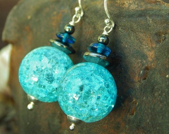 Blue Raspberry Earrings - Brilliant Crackle Glass Beads, Vintage Hematite & Czech Glass w Argentium Ear Wires - Proceeds Aid Kids w Diabetes