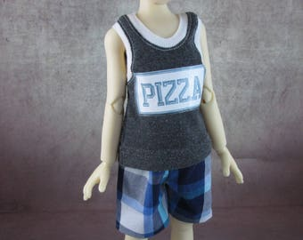 Pizza tank top and board shorts for Maurice by Kaye Wiggs MSD BJD Boys