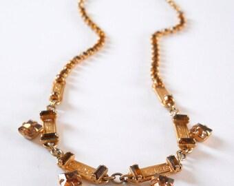 Vintage Leo Glass Necklace • Amber Rhinestone Gold Color Necklace