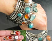 sterling silver ocean jasper gemstone bangle - bangle set - silver bangle - bangle trio - chunky bangle - boho jewelry