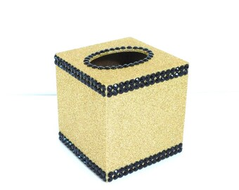 Gold Glittered Wood Tissue Box Cover with Black Rhinestones, Black and Gold Decor, Bath, Office