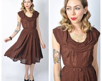 Vintage Late 1940's Chocolate Brown Embroidered Chiffon Fit and Flare Dress Size Medium