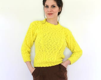 Highlighter Yellow Sweater / 1980s Sweater / 80s Sweater / 1980s Knit Bright Yellow Boucle Knit Sweater