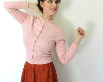 1950s Cardigan / 50s Cardigan / 1950s Soft Light Pink Knit Sweater Cardigan