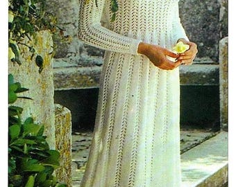 Knitting Pattern - Wedding Dress/Gown Bride with Cap - PDF Download