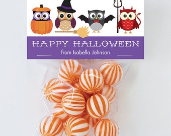 Halloween Treat Labels & Tags - Cute Costumed Owls - Set of 24 personalized paper tags and 24 treat bags