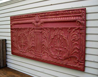Antique Architectural Salvage Wall Art, Tin Ceiling Tile, 4' x 2' large ceiling tile panel, Red metal wall decor