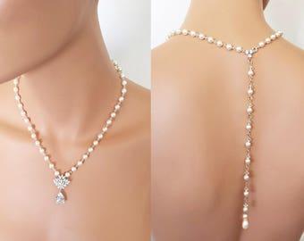 Backdrop Wedding Necklace, Silver Bridal Jewelry, crystal necklace set,  Swarovski element Jewelry - Kaylee