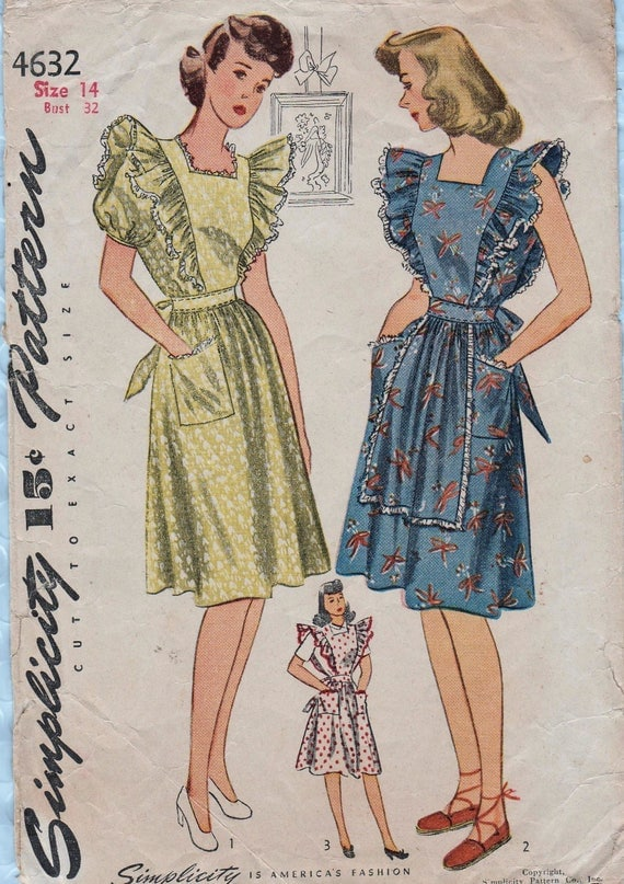 Simplicity 4632 / Vintage 1940s Sewing Pattern / Apron