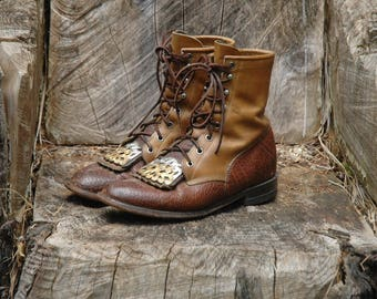 Justin Boots / Womens / Boots / Size 7.5 / Lace Up / Two Tone / Brown / Western / Metal Filagree