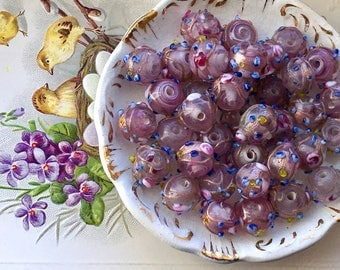 Vintage Wedding Cake Beads, Glass beads, Flower Beads, 3D beads, Art Glass Beads, Flowers 9mm, Pink Venetian Beads, Cottage Chic  #11315NR
