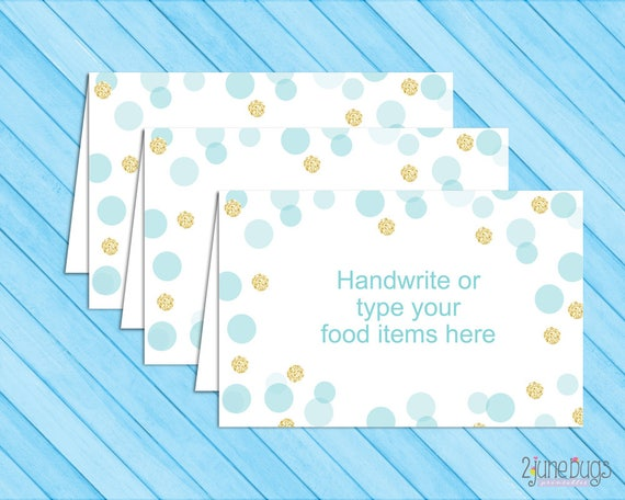 Blue And Gold Food Tent Labels Cards Or Place Cards Confetti