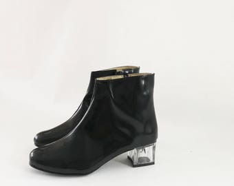 Edie Faux Leather Clear Lucite Heeled Ankle Boots (Handmade to Order)
