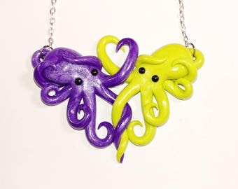 Intertwined Octopi in love Necklace,  purple and green valentines day gift, anniversary, christmas, birthday,