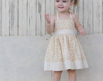 Elise Dress PDF Sewing Pattern, including sizes 3 months-12 years, Girls Halter Dress Pattern