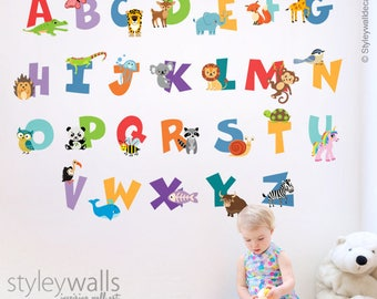 Alphabet Wall Decal, Animals Alphabet Wall Sticker, Letters Wall Decal, Animals Alphabet Wall Decal, ABC Animals Lettering Playroom Decor
