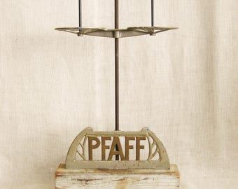 Antique Industrial Chic Sewing Machine Spool Holder, Pfaff, Relic, Sculpture, Functional, Up-Cycled, Mounted On Base, Studio, Artifact