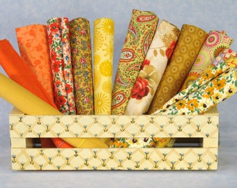 Yellow, Orange & Gold Fat Quarter Bundle, 12 Fat Quarters, 100% Cotton Quilt Fabric Bundle, Cotton Fabric Blenders, Various Manufacturers