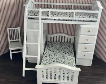miniature white wood bunk bed set with chair ladder side desk and drawers