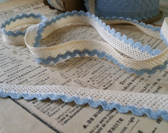 Elegant 1930's scalloped Wedgewood Blue and Creme Trellis Trim 12mm - 10 Yard Roll - New Old Stock