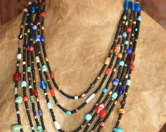 Rustic Necklace Multi strand African and Southwest inspired with Black Seed Beads and Mixed Glass Beads