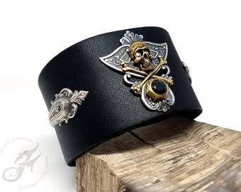 SKULL & CROSSBONES Cuff ~ Black Leather, Plated Brass (Silver / Gold) ~ Two Snaps, Adjustable ~ Fits up to 8 Inch Wrist ~ #B0181