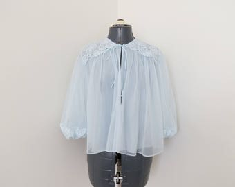 50s/60s Baby Blue Bed Jacket - By Vanity Fair Size Medium - Nylon & Lace with Full Sleeves