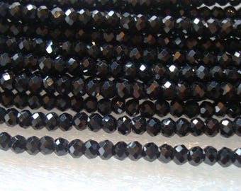 2.5mm, 2xFull strand, AAA Sparkling Tiny Black Spinel Micro Faceted Rondelles