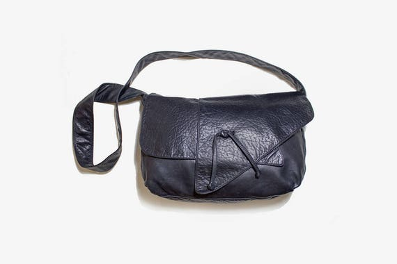 Vintage Hobo Bag / Black Leather Bucket Bag / Leather Hobo Bag / Black Leather Purse