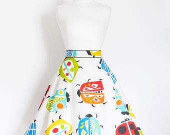 Spanish Mosaic Bug Print Cotton Flared Skirt - Custom Made by Dig For Victory!