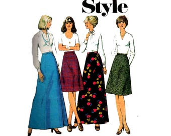 Style 1063 Womens 1970s Maxi Skirts Vintage sewing pattern Size 14 Waist 28 inches