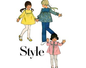 Style 3869 Toddler Girls Babydoll Dress Tunic & Pants 70s Vintage Sewing Pattern Size 2 Breast 21 inches
