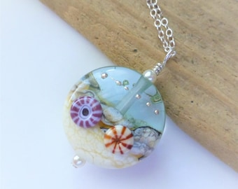 Beach Necklace, Ocean Jewelry, Surf and Sand Necklace, Lampwork Glass Pendant, Beach Wedding, Gift for Her, Sterling Silver, Christmas Gift