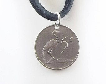 Bird Coin Necklace, South Africa 5 Cents, Coin Pendant, Leather Cord, Mens Necklace, Womens Necklace, 1965