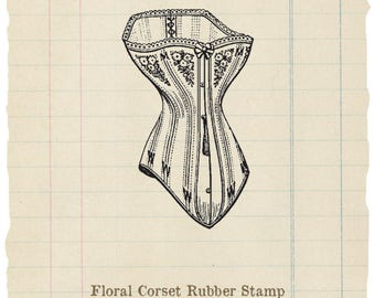 Floral Corset unmounted rubber stamp