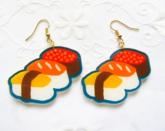 Big Sushi Earrings / Kawaii Earrings / Cute / Fun / Food Earrings / Resin / Earrings