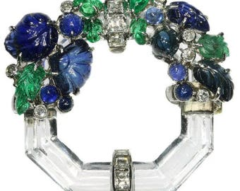 Art Deco gemstone brooch tutti frutti emeralds blue sapphires rock crystal diamonds .27ct French jewelry 1920s