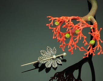 Diamond Leaf Brooch - Antique Victorian brooch chestnut leaf rose cut diamonds pearls silver 18k rose gold France ca.1870