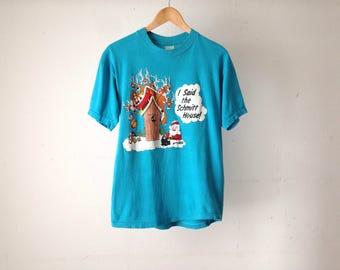 "vintage SANTA joke shirt ""SH*T"" House drunk reindeer shirt"