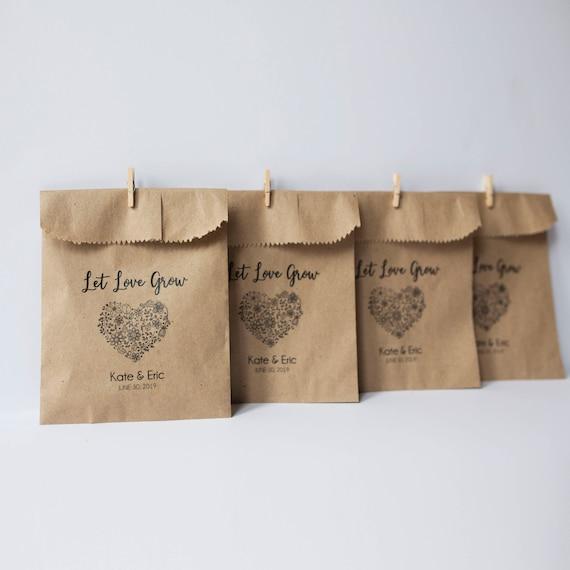 Let Love Grow - Seeds Favor Bags - Wedding Favors - 4x6 inch Kraft Paper Rustic Bags
